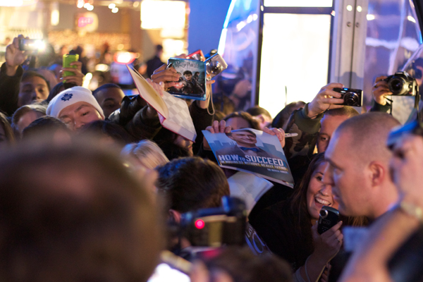 Daniel Radcliffe buried in a sea of fans at the Toronto premiere of The Woman in Black