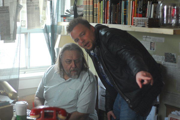 Director Christopher MacBride on the set of The Conspiracy with actor Alan C. Perteron