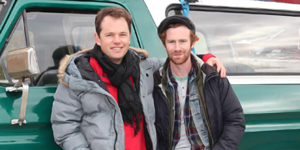 Director Jonathan Hayes (left) on the set of Algonquin with actor Mark Rendall