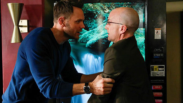 "COMMUNITY -- ""Basic Story"" Episode 512 -- Pictured: (l-r) Joel McHale as Jeff Winger, Jim Rash as Dean Pelton -- (Photo by: Vivian Zink/NBC)"