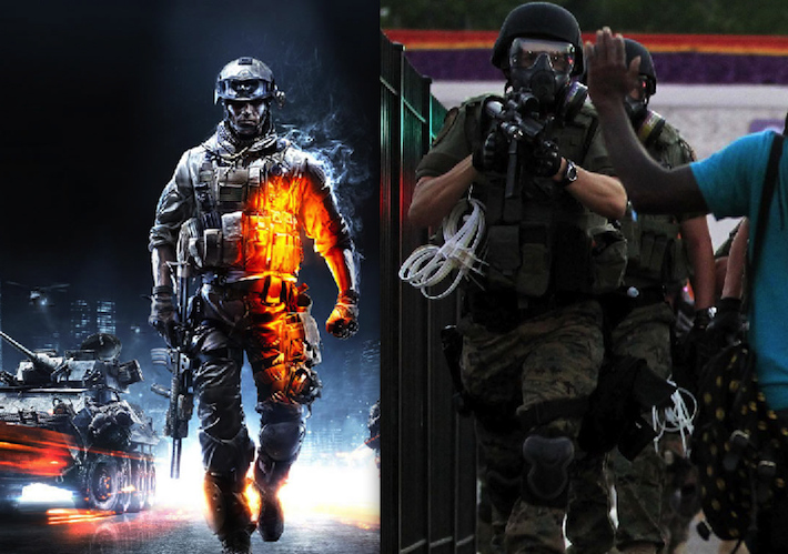 Left: Battlefield 3   Right: Ferguson, MO (AP/Jeff Roberson)
