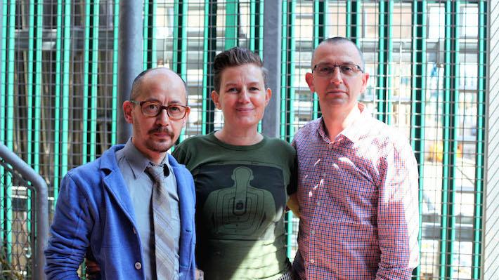 Blast Theory leaders Nick Tandavanitj, Ju Row Farr, and Matt Adams