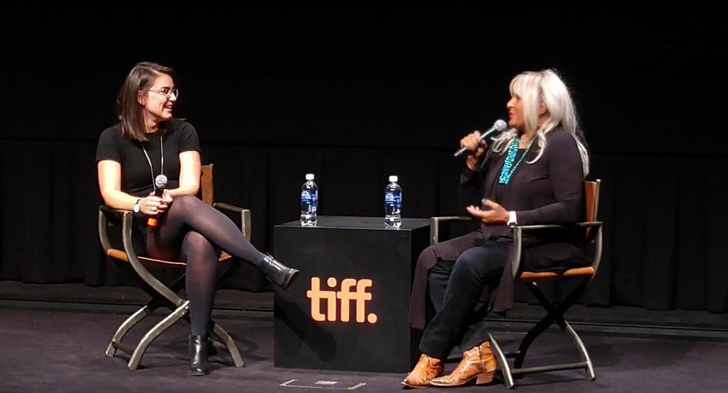Reardon talking to screen legend Pam Grier