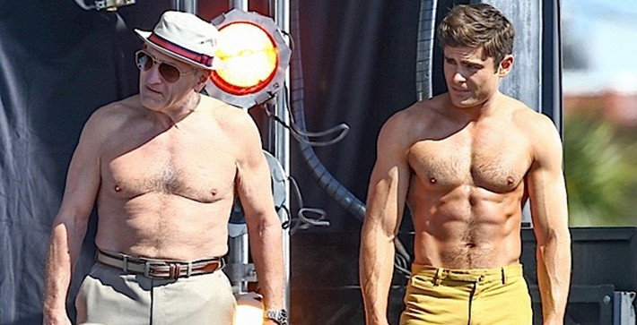"Zac Efron Robert De Niro Go Shirtless For Flex Off On Set Of ""Dirty Grandpa"""