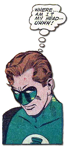 Green Lantern contemplates his head injury