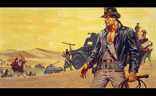 Pre-production concept art for Raiders of the Lost Ark featuring Indiana Jones