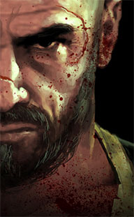 Max Payne looking older, grizzled, scarred, and angry