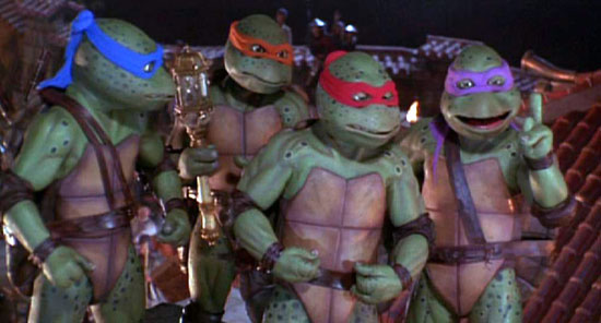 The Teenage Mutant Ninja Turtles in their third live action movie.