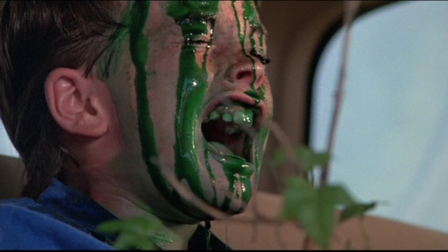 Child actor Joshua Green gets slimed by the Nilbogs