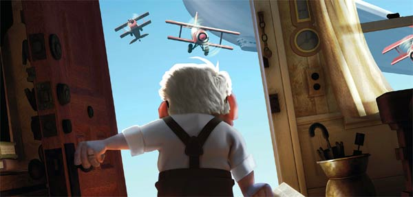 Carl, star of Pixar's Up, opening the door to WWII-era airfighters.