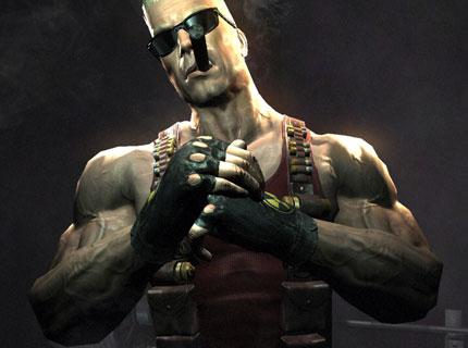 Duke Nukem smokes a cigar and flexes