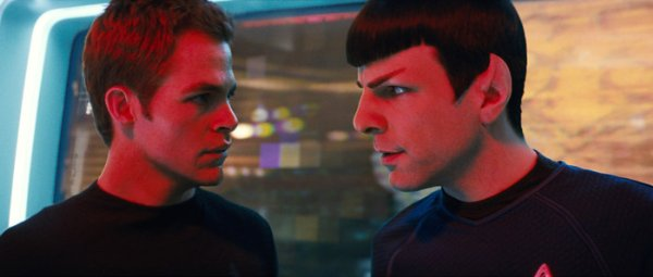Chris Pine and Zachary Quinto as Kirk and Spock in the new Star Trek film