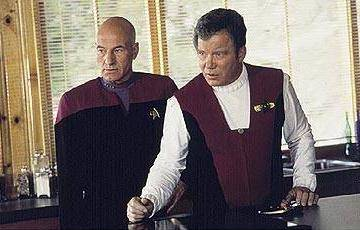Patrick Stewart and William Shatner as Captain Picard and Captain Kirk in Star Trek: Generations