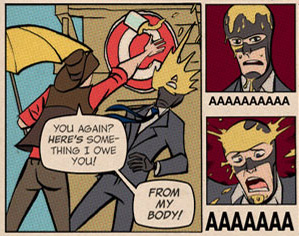 A snippet from Michael Avon Oeming's Team Fortress 2 web-comic