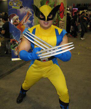 A man dressed in a horrible Wolverine costume