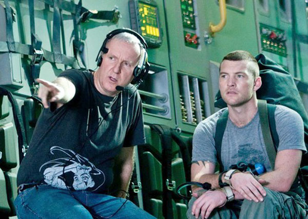 James Cameron and Sam Worthington on the set of Avatar
