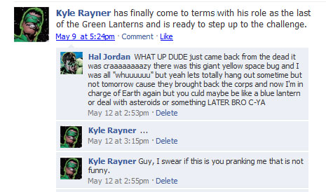 Green Lantern's Facebook Status