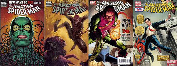 The four variant covers for Amazing Spider-Man #573