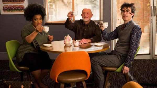 """COMMUNITY -- """"Basic Sandwich"""" Episode 511 -- Pictured: (l-r) Yvette Nicole Brown as Shirley Bennett, Jonathan Banks as Professor Hickey, John Oliver as Professor Duncan -- (Photo by: Justin Lubin/NBC)"""