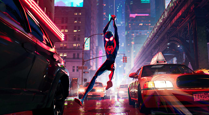 Spider-Man-into-the-spider-verse-Miles-swinging-on-street