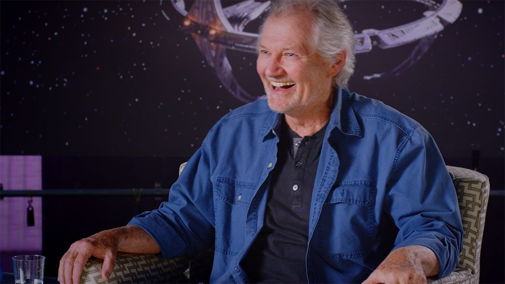 Actor Andrew Robinson (Garak) jokes during an Interview for What We Left Behind. Credit Shout! Studios