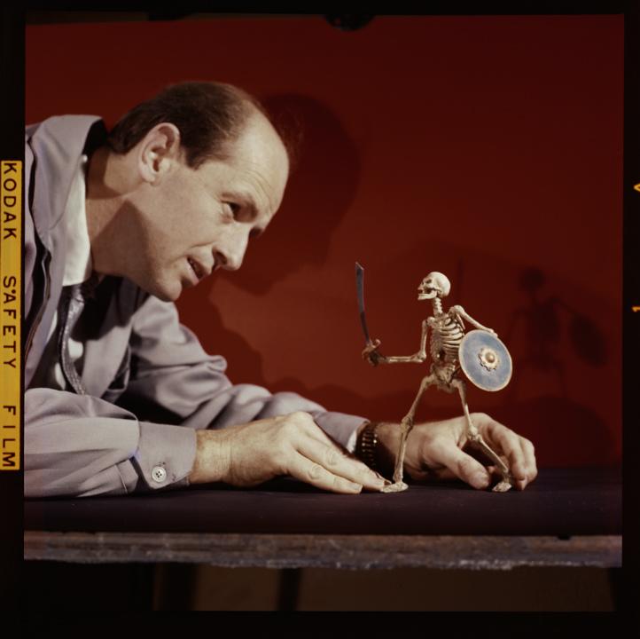 Ray Harryhausen 1920-2013 animating Skeleton model The 7th Voyage of Sinbad 1958