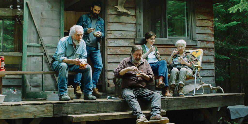 Elderly people on a deck
