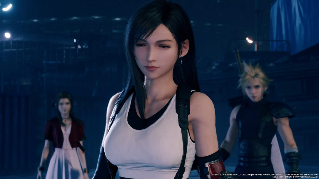 Aerith, Tifa and Cloud encounter strange apparitions in the Train Graveyard. (Square-Enix)