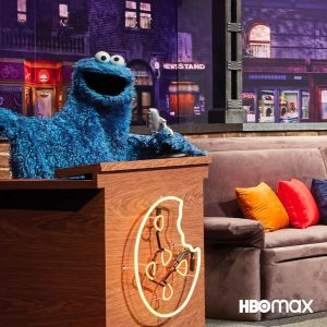 Cookie Monster on the set of Not-Too-Late with Elmo