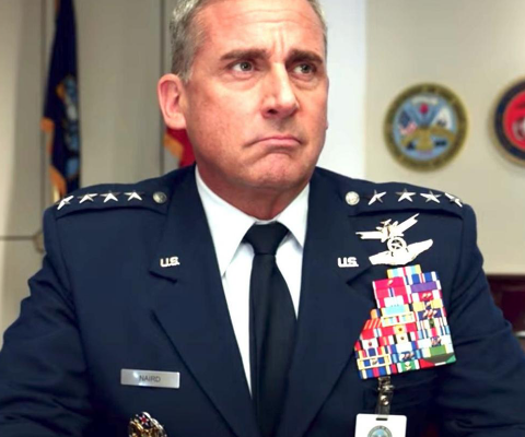 Steve Carrell as a four-star general in Space Force
