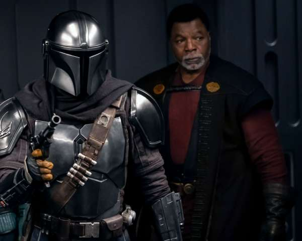 The-Mandalorian-Gina Carano is Cara Dune Pedro Pascal is the Mandalorian and Carl Weathers is Greef Karga in THE MANDALORIAN season two exclusively on Disney+