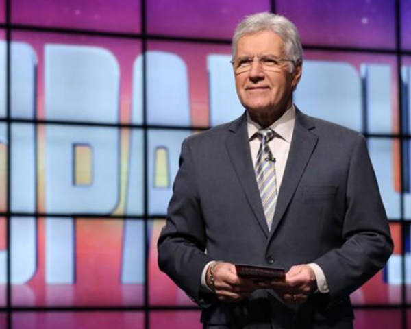 Alex Trebek on the set of Jeopardy
