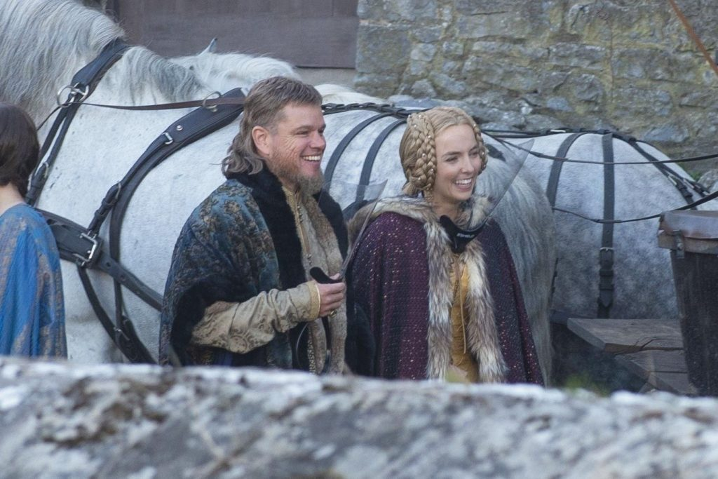 Matt Damon and Jodie Comer on location for The Last Duel