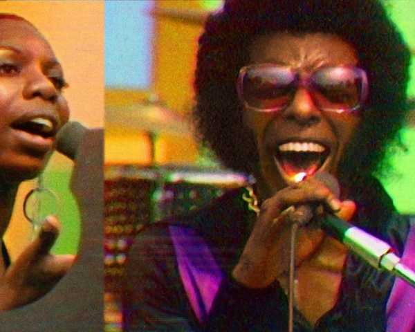 Summer of Soul poster featuring Nina Simone and Sly Stone
